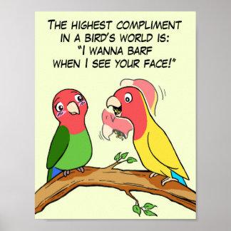 Manera del loro y del pájaro del Lovebird que dice Posters