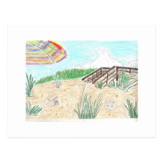 Manera del paseo a la playa tarjeta postal