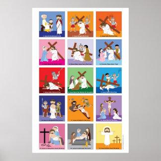 Manera feliz de los santos de la cruz póster
