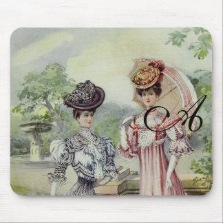 Manera francesa gris, vestido rosado del vintage alfombrilla de ratón