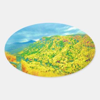 Manera sobre el aire de las montañas cepillado pegatina ovalada