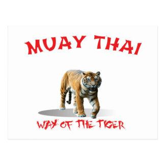 Manera tailandesa de Muay de la postal del tigre