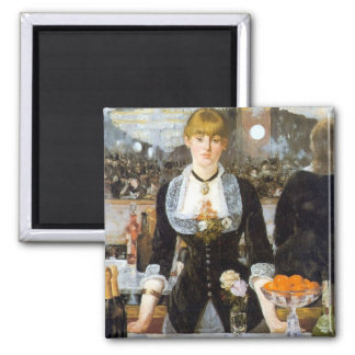 Manet: A Bar at the Folies-Bergere, 1882 2 Inch Square Magnet