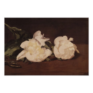Manet | Branch of White Peonies and Secateurs Poster