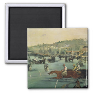 Manet | Horse Racing, 1872 2 Inch Square Magnet