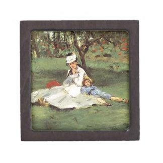 Manet Impressionist French family in garden Keepsake Box