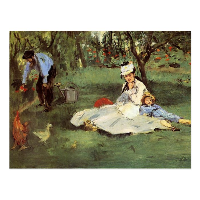 Manet Impressionist French family in garden Postcard