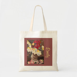 Manet-Inspired Floral with Name Template Tote Bag
