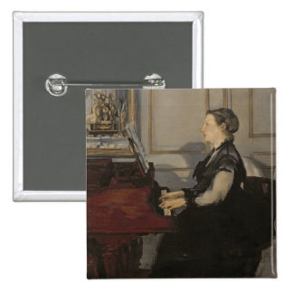 Manet | Madame Manet at the Piano, 1868 Pinback Button