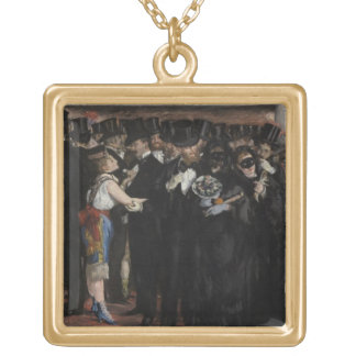 Manet | Masked Ball at the Opera, 1873 Gold Plated Necklace