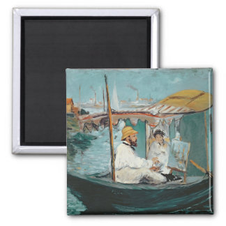 Manet | Monet in his Floating Studio, 1874 Magnet