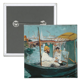 Manet | Monet in his Floating Studio, 1874 Pinback Button