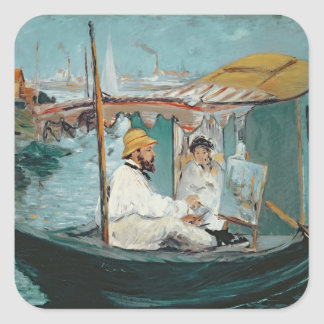 Manet   Monet in his Floating Studio, 1874 Square Sticker