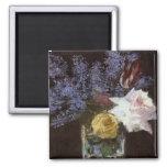 Manet's Roses, Tulips, & Lilacs in a Crystal Vase  Fridge Magnet