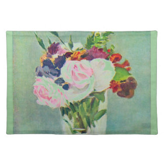 Manet Still Life with Flowers Seafoam Green Placemat