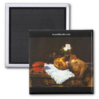 Manet's The Brioche With Wimsey the Bloodhound 2 Inch Square Magnet