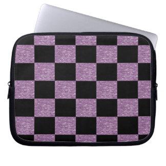 Manga a cuadros púrpura y negra del ordenador port fundas portátiles