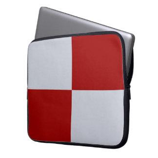 Manga a cuadros roja y gris del ordenador portátil funda computadora