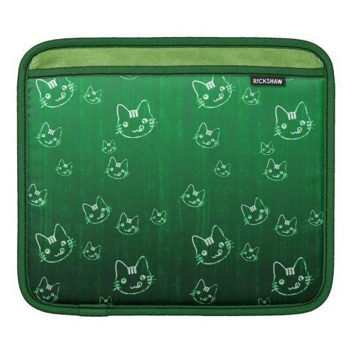 Manga abstracta linda fresca del verde   del gatit funda para iPads