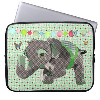 Manga afortunada del ordenador del verde del elefa fundas computadoras