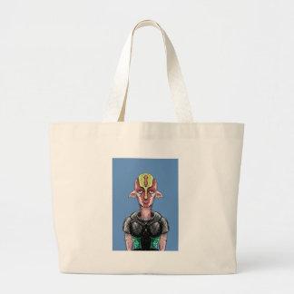Manga Alien Elf With Sad Eyes. Large Tote Bag