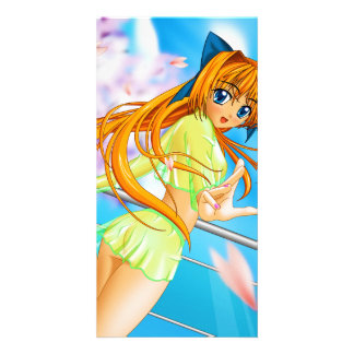 Manga Anime Cute Girl in See Through Green Skirt Card