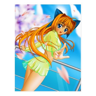 Manga Anime Cute Girl in See Through Green Skirt Postcard