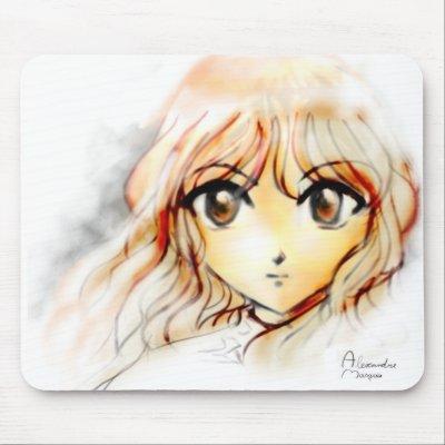 Manga Anime Girl sketch big eyes kawaii cute Mousepads by AlexandreMasquio