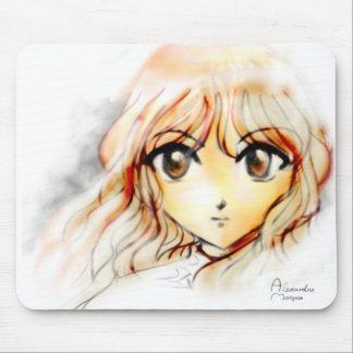 Manga Anime Girl sketch big eyes kawaii cute Mouse Pad
