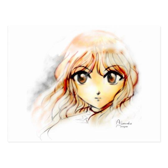 Manga Anime Girl sketch big eyes kawaii cute Postcard