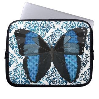 Manga azul del ordenador de la mariposa de Boho Funda Portátil