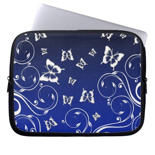 Manga azul del ordenador portátil de la flor de ma funda ordendadores