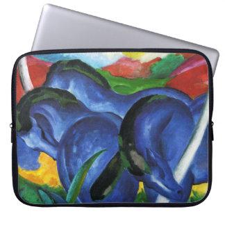 Manga azul del ordenador portátil de los caballos  funda ordendadores