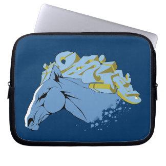Manga azul del ordenador portátil del caballo de l mangas computadora