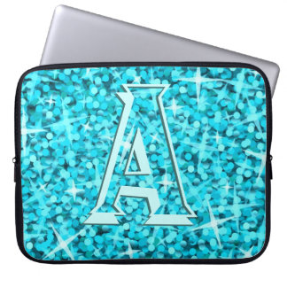 "Manga azul del ordenador portátil del ""monograma""  mangas portátiles"