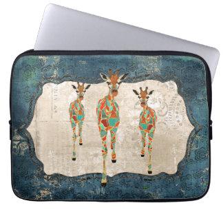 Manga azul y ambarina del ordenador de las jirafas funda computadora
