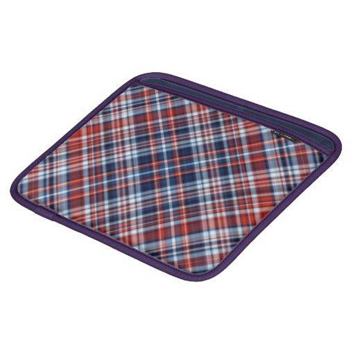 Manga blanca y azul roja del iPad de la tela escoc Funda Para iPads