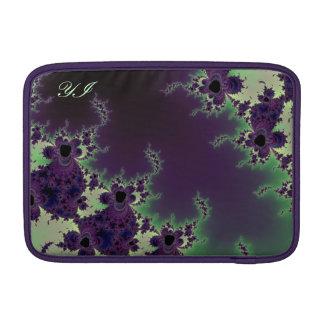 Manga con monograma del fractal floral verde fundas para macbook air