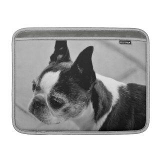 Manga de aire blanco y negro de Boston Terrier Funda Para Macbook Air