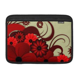 Manga de aire floral roja de Macbook del hibisco Fundas Para Macbook Air