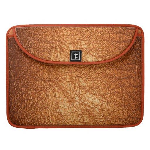manga de cuero anaranjada de la aleta del macbook  fundas para macbooks