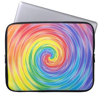 Manga de giro del ordenador portátil del arco iris fundas ordendadores