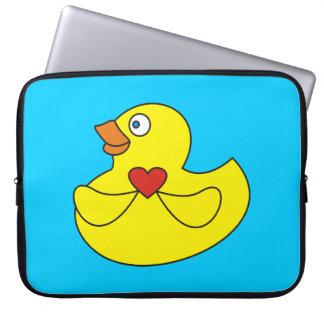 Manga de goma del ordenador portátil del pato del  fundas computadoras