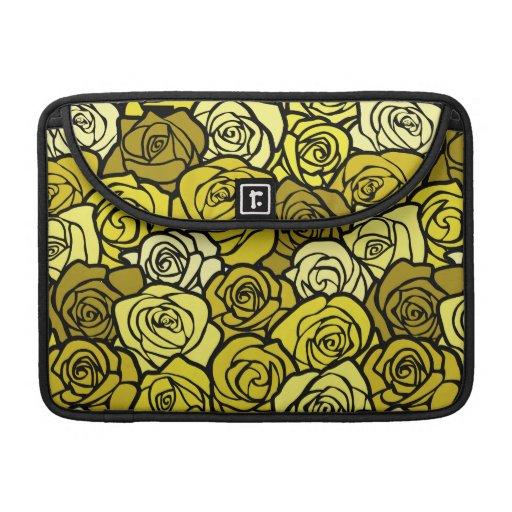 Manga de la aleta del carrito de los rosas amarill fundas macbook pro