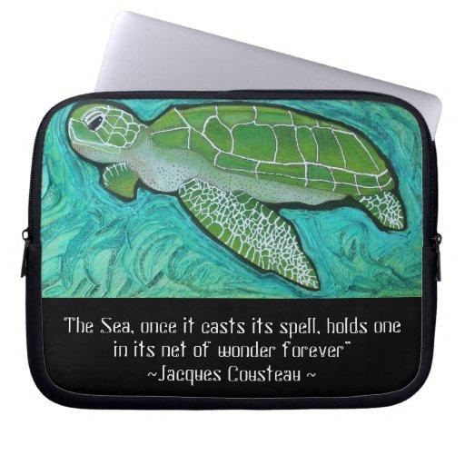 Manga de la electrónica de la tortuga de mar verde fundas ordendadores