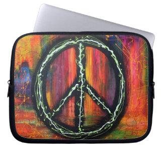 Manga de la electrónica del signo de la paz fundas portátiles