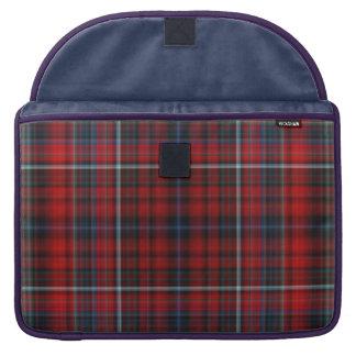 Manga de Macbook de la tela escocesa roja y azul f Funda Para Macbooks