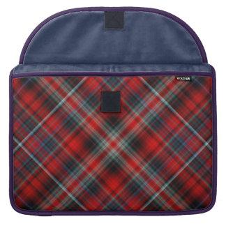 Manga de Macbook de la tela escocesa roja y azul f Fundas Para Macbook Pro
