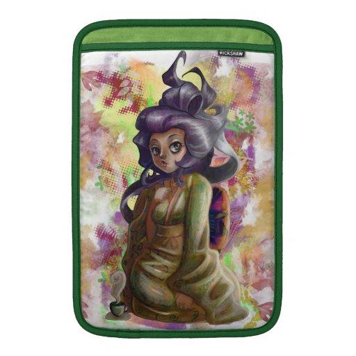 Manga de Macbook del geisha del té verde Fundas Para Macbook Air