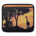 manga del ipad de la puesta del sol de la jirafa fundas para iPads